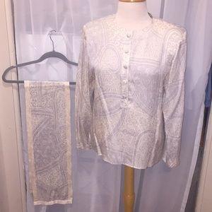 Silk Blouse and Scarf Set EUC 🐝 Size 12